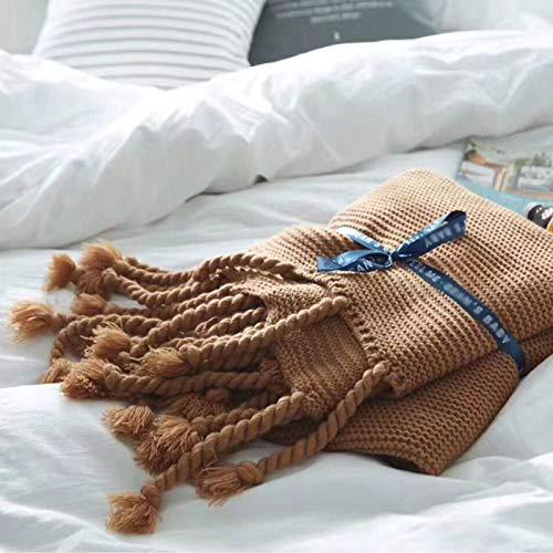 Manta De Punto con Flecos para Sofa Cama Silla de Playa Decorativa Manta Tejida 130×180cm,150×200cm Toda la Temporada Beige Verde Gris Caqui Rosa