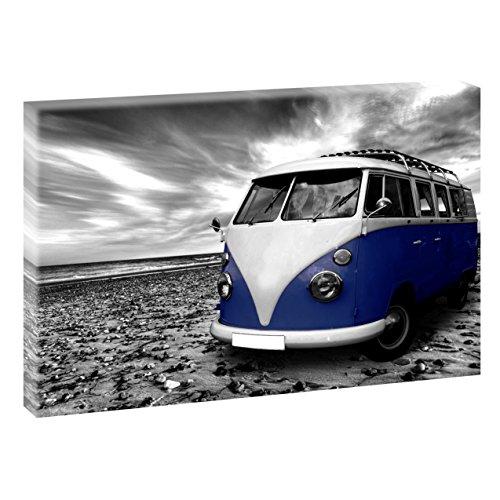 Querfarben Strand mit Retro Bulli | Panoramabild im XXL Format | Poster | Wandbild | Poster | Fotografie | Trendiger Kunstdruck auf Leinwand Größen (120 cm x 80 cm, Schwarz-Weiß/Blau)