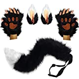 HAOAN Wolf Fox Tail Clip Ears and Gloves Set Halloween Christmas Fancy Party Costume Toys Gift for Children or Adult Black