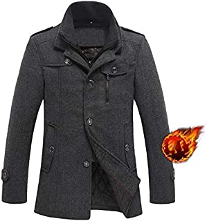 Men's Clothing Men's single-breasted woolen coat, winter double-necked thick coat trench coat, lining plus cotton, anti-pilling/wind wrinkle/washable (Color : Gray, Size : M) Clothing autumn and winte