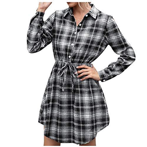 QiFei V-Ausschnitt Lässiges mittellanges Kariertes Hemdhemd für Damen hüftlanges...