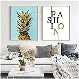 40x60cm 2 Piezas de Pintura de Lienzo con Letras de piña, Carteles e Impresiones, imágenes artísticas de Pared para la decoración del Dormitorio de la Sala de Estar