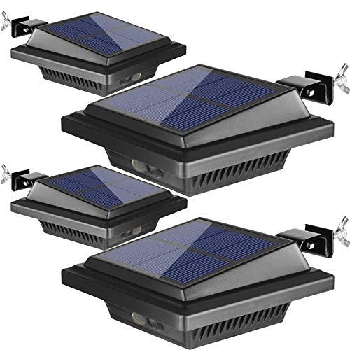 Dachrinne Solarleuchte mit Bewegungsmelder 40 LEDs | BILLION DUO Solarlampen für Außen | Schwarz Gartenbeleuchtung Warmweißes Solarlicht, 3W PIR Sicherheitswandleuchte Außenlampe für Garage
