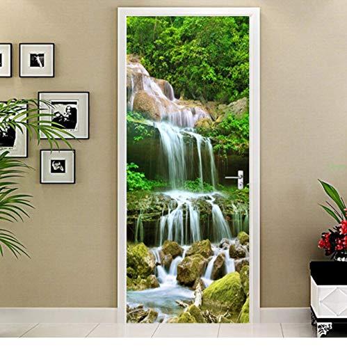 WISOEEP PVC Self-Adhesive Door Sticker 3D Waterfalls Landscape Wallpaper Living Room Kitchen Waterproof Home Decals 3D Door Wall Sticker