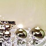 DRULINE 3er-Set Teelichthalter Silber Keramik Teelicht Kerzenhalter Deko Shabby