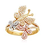 Ross-Simons 0.50 ct. t.w. Diamond Butterfly Ring in 14kt Tri-Colored Gold. Size 7