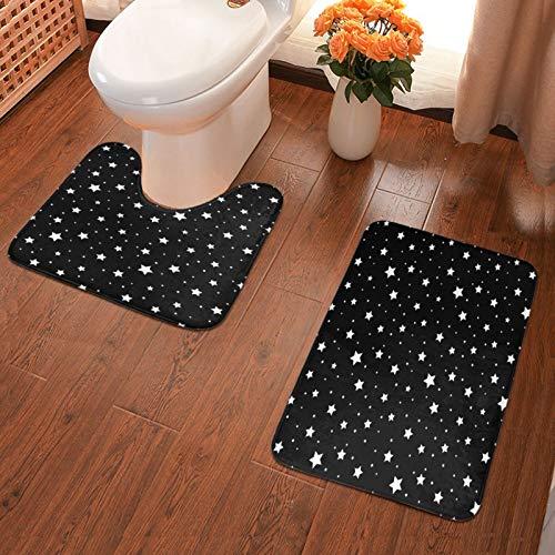 Juego de 2 alfombrillas de baño de franela suave con diseño de estrellas, color negro y blanco