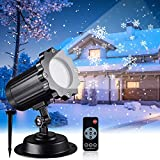 Snowfall LED Light Projector, Christmas Rotating Snowflake Projector Lamp with...