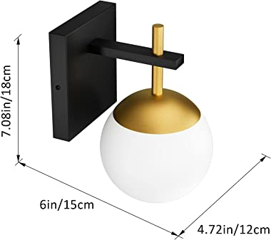 Ralbay Black Gold Wall Sconce, Mid Century Modern Wall Lighting Fixtures Milky Glass Indoor Wall Lamp for Home Decor Bathroom