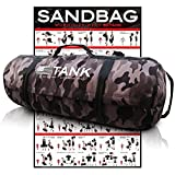 Tank Heavy Duty Workout Exercise Sandbags for Fitness, Military Conditioning, Crossfit with Adjustable Weighted Dynamic Load Exercises & WODs Includes Amazing Workout Poster!