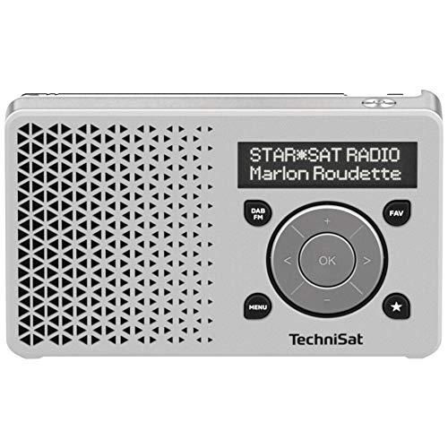 TechniSat DIGITRADIO 1 - tragbares DAB+ Radio mit Akku (DAB, UKW, FM, Lautsprecher, Kopfhörer-Anschluss, Favoritenspeicher, OLED-Display, klein, 1 Watt RMS) weiß/silber
