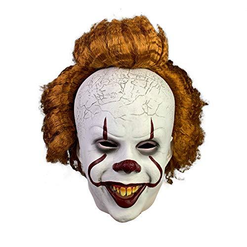 yacn Pennywise Máscara Se Peluca de Payaso Pennywise Sonrisa Trajes de Vestir Traje de Halloween del para Adultos