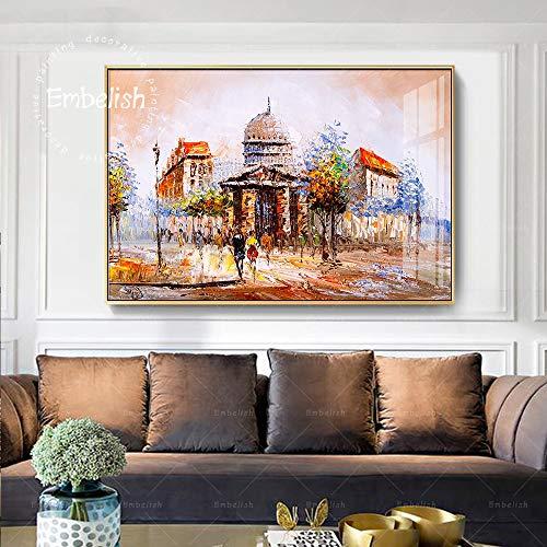 Cuadros de paisajes de la Calle de París decoración del hogar Moderno Carteles de Arte de Pared Pintura al óleo en Aerosol HD sobre Lienzo-Sin marco50X75cm