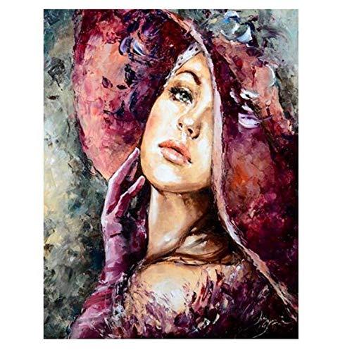 LiMengQi Pintura Abstracta de la Mujer, Belleza Digital, Pintura al óleo Digital, Personajes Modernos, imágenes murales de Productos de Arte para el hogar(No Frame