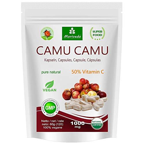 Camu Camu Capsules 8:1 extrait avec 50% de vitamine C naturelle (120 ou 360 pièces) - produit de qualité végétalien de MoriVeda (1x120)