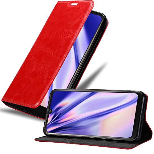 Cadorabo Hülle für LG K50 in Apfel ROT – Handyhülle mit Magnetverschluss, Standfunktion & Kartenfach – Hülle Cover Schutzhülle Etui Tasche Book Klapp Style