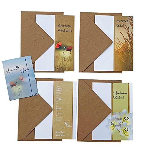 4 Trauerkarten mit Umschlag sowie Broschüre mit Beileidstexten, Beileidskarten mit Kraftpapierumschlägen, Kondolenzkarten als Klappkarten im Set 10-teilig, A6 inkl. Broschüre mit Trauerspüchen