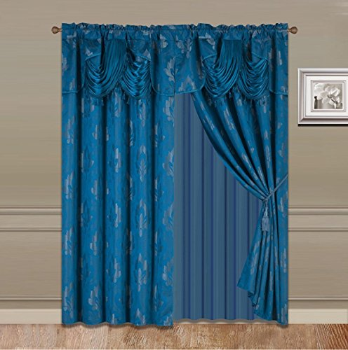 Elegant Home Window Curtain Drapes All-in-One Set with Valance & Sheer Backing & Tassels for Living Room, Bedroom, Dining Room, and Sliding Doors (Turquoise/Blue, 1631)