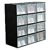 3 Caja de zapatos cargada Caja de zapatos de baloncesto transparente Caja de almacenamiento de zapatillas grandes 25 * 34 * 19 cm Caja de zapatos de rack de zapatos de montaje Caja de zapatos apilable