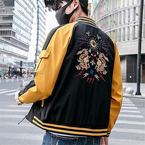 RYSLJJWCZ Stil Männer Jacke Mantel Drachen Stickerei Streetwear Männer Jacke Mantel Hip Hop Herren Bomberjacken Herbst @ color1_M