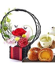誕生日 の プレゼント 人気商品 花 バラ おいもや まんじゅう お菓子 花とスイーツ お祝いギフト プリザーブドフラワー アレンジメント (カラー・あか色)