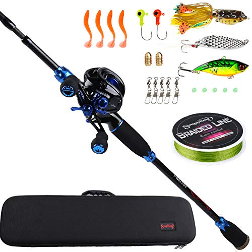 Sougayilang Baitcasting Travel Fishing Rod Reel Combos 7.0:1 Gear Baitcasting Fishing Reel-4PC Protable Fishing Pole with Fishing Carrier Bag -2.1M Blue Right Handed