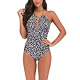 Maillots De Bain Femmes Backless Strappy Bikinis Mode D'Été Simples Vêtements de Fiesta Skinny Topless Vacances Slim À La Mode Maillots De Bain (Color : Leopard Print, One Size : 3XL)