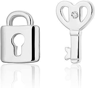 Stud Earring for Women,Key&Lock Earring Stud Girl Gold Silver Dangle Earring Stainless Steel Earring