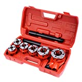 GOFLAME Ratchet Pipe Threader Kit Set Portable W/6 Dies and Case Gas Manual Ratcheting Pipe Threading Tool Set