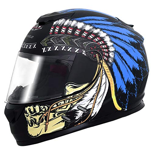 Triangle Motorcycle Street Bike Dual Visor Helmets DOT Approved (American Flag, Small)