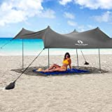 Red Suricata Family Beach Sunshade - Sun Shade Canopy | UPF50 UV Protection | Tent with 4 Aluminum Poles, 4 Pole Anchors, 4 Sandbag Anchors | Large & Portable Shelter Tarp (Grey, Medium 7' x 7')