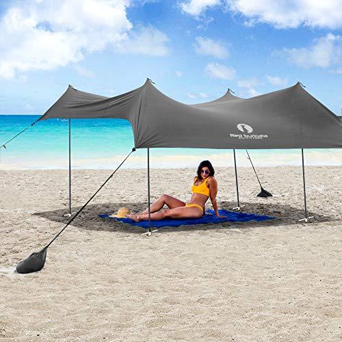 Toldo familiar para playa Red Suricata - Sombrilla tipo toldo - Protección UV UPF50 - Tienda de campaña repelente al agua con 4 postes de aluminio, 4 postes de anclaje, 4 bolsas de arena de anclaje - Lona de refugio grande y portátil (Grande, Gris)