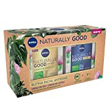 NIVEA Pack Naturally Good Rutina Facial Antiedad, caja de regalo con crema reafirmante de día (1 x 50 ml) y crema de noche regeneradora (1 x 50 ml), pack de mujer