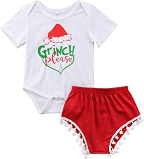 Baby Girls Christmas Grinch Outfits Short Sleeve Santa Hat Romper with Tassel Short