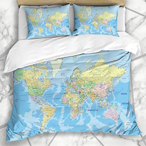 Juegos de fundas nórdicas Detalle en azul pastel Mapa del mundo político altamente detallado Etiquetado del globo Atlas País África Geografía Ropa de cama de microfibra con 2 fundas de almohada Cuidad