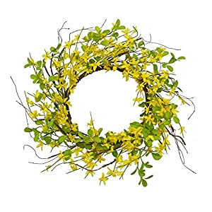 "AMF0RESJ 18"" Artificial Forsythia Wreath, Yellow Flower Front Door Wreath Winter Jasmine Outdoor Wreath with Greenery Silk Tea Leaves for Window Wedding Home Wall Decor"