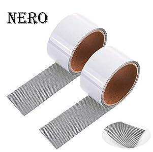 2 cintas para reparar mosquiteras, cinta adhesiva de fibra de vidrio para ventanas, insectos, 5 cm x 200 cm (negro)