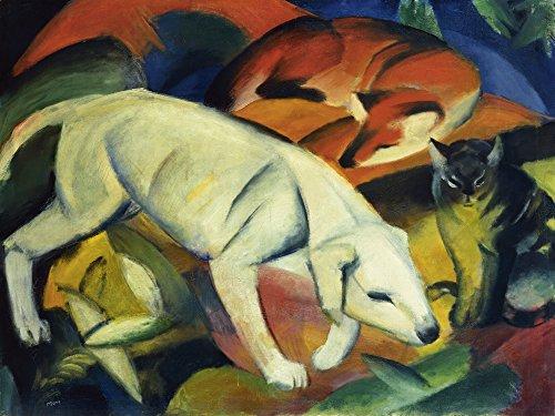 Artland Alte Meister selbstklebendes Wandbild Franz Marc DREI Tiere Wandtattoo Art 45 x 60 cm Kunstdruck Gemälde Expressionismus R0HL