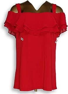 Susan Graver Women's Top Size L Premier Knit Off-The-Shoulder Red A289396