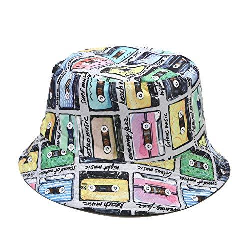 ZHENQIUFA Sombrero Pescador Gorras Cinta De Algodón con Estampado De Dos Lados, Sombrero De Cubo para Hombres Y Mujeres, Al Aire Libre, Panamá, Hip Hop, Sombrero De Pescador Plegable, Pesca De Viaje