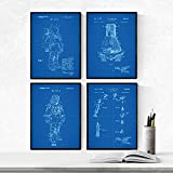 Nacnic Azul - Pack de 4 Láminas con Patentes de ASTRONAUTAS. Set de Posters con inventos y Patentes Antiguas. Elije el Color Que Más te guste.