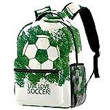 Mochila de escuela de princesa, mochila para niñas y niños, bolsa de escuela, bolsa de libros para mujeres, niñas, bolsa de libros, amor, fútbol, color verde, Love Soccer Football Green 1, Medium