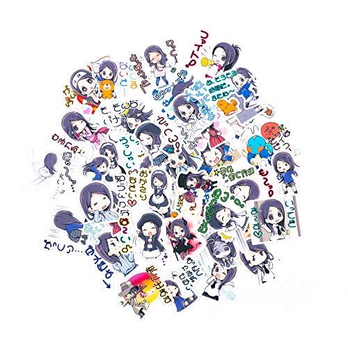 Lily かわいい文字付き乙女人形さんステッカー(40枚)、お気に入りのスーツケース、 PVC材質 、防水、子供、日記、文房具、装飾ラベル、水筒、電話、手帳、自転車、携帯、ノート、 タブレット、ブックプランナースクラップブッキングステッカー