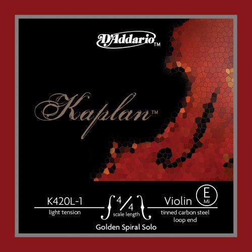D'Addario K420L-1 - Cuerda para violín de acero y dorado en Mi, 4/4 (tensión baja, extremo de lazo)