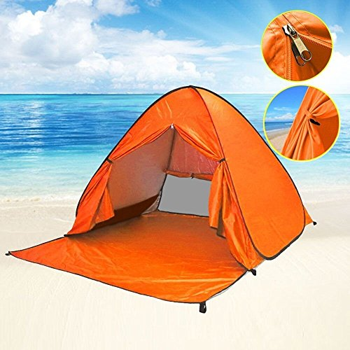 Eplze Automatic Pop Up Beach Tent Instant Portable Quick Cabana Sun Shelter for 2-3 Person (Orange)