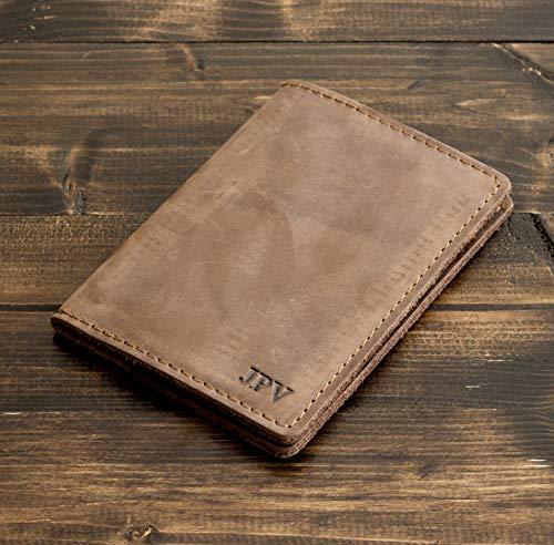 Pegai Personalized Passport Cover, Distressed Leather Passport Holder, Rustic Passport Case - DeKalb   Sand Brown