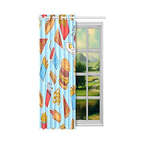N\A Vorhang für Fenster Fast Food Hamburg Pizza Fries Zeichnung Fenster Vorhänge Volant 52x63 Zoll (132x160cm) 1 Panel Blackout Tülle Vorhang für Schlafzimmer Wohnzimmer