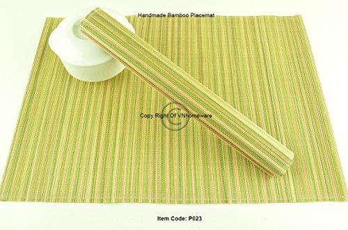 Lot de 4 sets de table faits à la main en bambou naturel, vaisselle écologique, sauge verte, crème