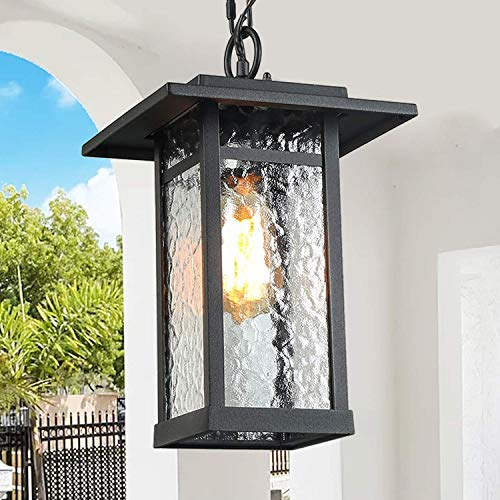 LOG BARN 1 Light Hanging Lantern Lamp Pendant Light in Painted Black Metal with Obscured Glass Shade, 13