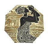 rodde Paraguas Vintage Indio Jirafa Cebra Mujer Madre Bebé Auto Abrir Cerrar Anti UV Plegable Compacto Automático Paraguas